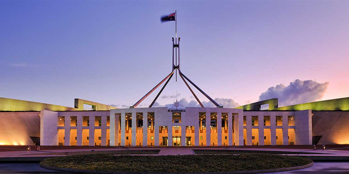 A picture of parliament house in Canberra